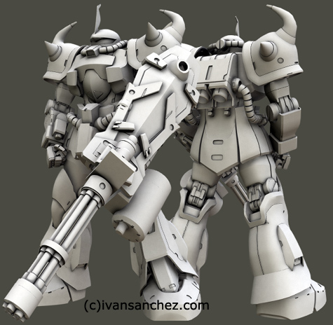 mobile suit gundam zaku II F2 ver 2 gouf custom J 3d mesh cg sandrum bonds of the battlefield senjo no kizuna