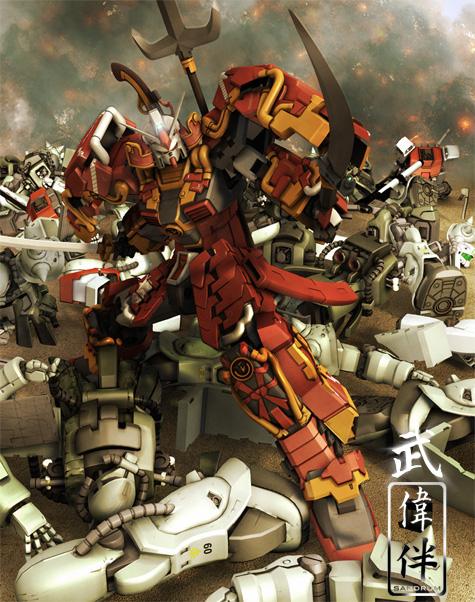 shin musha Gundam musou 3d gundam mesh cg sandrum 武者ガンダム