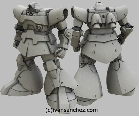 mobile suit gundam 0083 stardust memories rick dom xamel 3d mesh cg sandrum render