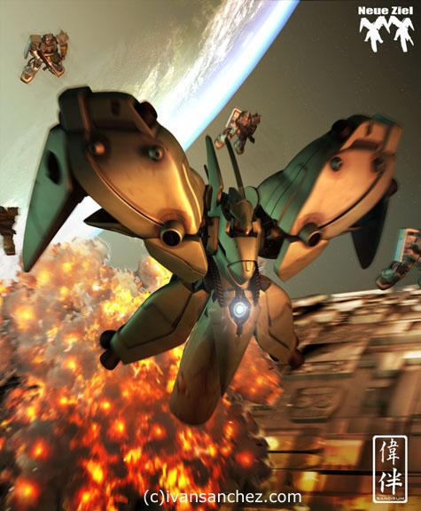 CG Neue Ziel mesh Gundam 3D lightwave sandrum