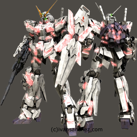 mobile suit gundam Unicorn Destroy mode 3d mesh cg sandrum