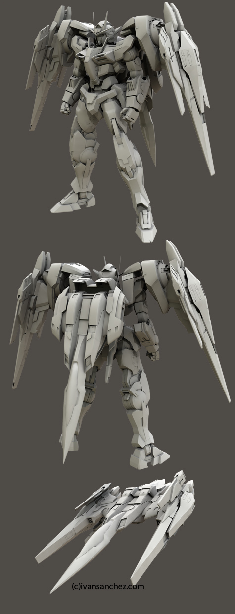 mobile suit gundam 00 double 0 raiser riser 3d mesh cg sandrum
