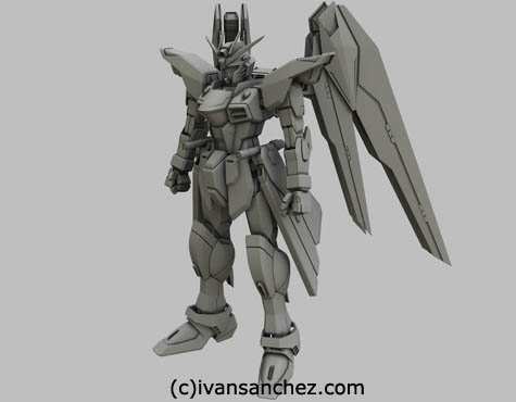 freedom wing gundam 3d mesh sandrum