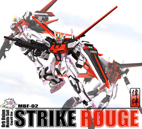 CG strike rouge gundam head 3d mesh sandrum