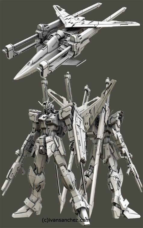mobile suit gundam seed destiny impulse gundam MG force sword blast 3d mesh cg sandrum