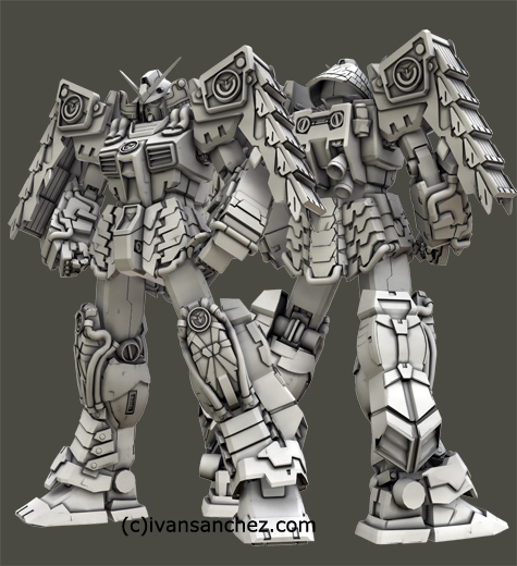 mobile suit gundam shin musha mode 3d mesh cg sandrum