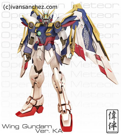 CG sandrum Wing Gundam KA 3D pose lightwave mesh